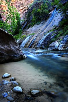 The Narrows!! Zion!! I love it there!! Especially this landmark waterfall in the beginning!