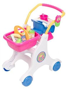 """$29.99 Baby Little girls love playing """"Mommy""""! Perfect for a day of shopping fun, this colorful shopping cart comes with lots of pretend food, a special seat for baby dolls (not included), and a removable basket. The baby seat is also removable and can be used as a booster seat for feeding the baby. There is even a pretend cell phone, so your little shopper can double-check items on her shopping ..."""