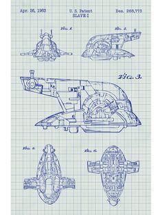 Williston Forge 'Star Wars Slave-I' Blueprint Graphic Art in White Grid/Blue Ink Star Wars Ships, Star Wars Art, Mandalorian Ships, V Wings, Starwars, Clone Trooper Helmet, Star Wars Spaceships, Star Wars Design, Star Wars Vehicles