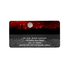 NYC Skyline Silhouette Moon Red H Address Labels