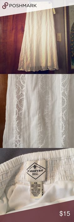 """White Lace Skirt This white lace skirt is the same as the black lace one I have for sale in my closet. I am selling for the same reason, it is too long. However, I have never worn this one, so it still has the tag. Waist is about 13"""" and the length is about 34.5"""". Please make offers and ask questions! St. John's Bay Skirts Maxi"""