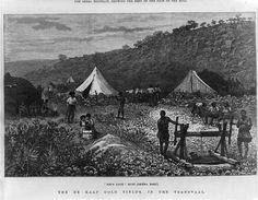 Als 1886 am Witwatersrand in Transvaal ein großes Goldvorkommen entdeckt wurde, trieb Cecil Rhodes als Premier der britischen Kapkolonie die Eroberung der Burenrepubliken Oranje-Freistaat und Transvaal voran.     Der Druck zeigt die Sheba-Mine im De Kaap Valley, Transvaal, die mit mehr als hundert Jahren Betriebsdauer zu den ältesten Goldminen der Welt zählt.