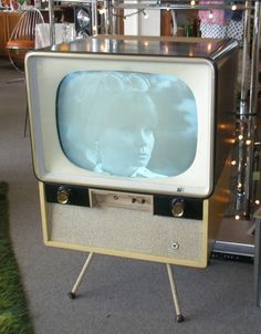 An old fashioned TV set, that brings back memories of our first ever TV set being brought into the house way back in the 60's