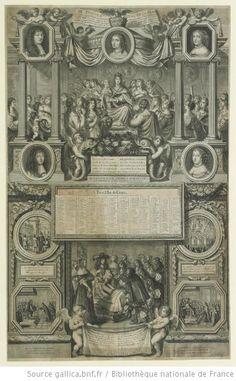 Philippe d'Orleans (1640-1701) mid-left medallion, and Henriette-Anne d'Orleans (1644-70) mid-right medallion, in LE TROSNE - ROYAL DE LA FRANC[E] / ET LES ILLVSTRES ESTRENNE - PRESENTEES A MONSEIGNEVR / LE DAVPHIN PAR LES VERTVS LES - SCIENCES LES ARTS LES / AMOVRS LABONDANCE ET LA PAIX - AVEC LE TABLEAV DES PLVS / CELEBRES ACTIONS QVI ONT SVIVI - CETTE AVGVSTE NAISSANCE, 1662, French school