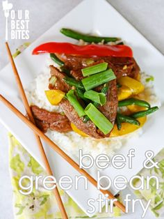 Easy beef stir fry with green beans and bell peppers