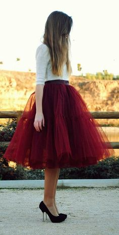 Tulle skirt in Marsala red. Love this for an engagement photo shoot
