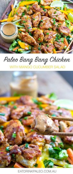 Paleo Bang Bang Chicken With Mango Cucumber Salad (gluten-free, paleo)