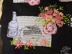 Remington and Stolichnaya detail from the latest embroidery artwork from Susan Kennewell
