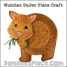 Wombat Paper Plate Craft - Australian Crafts for Kids