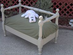 dog bed from a bunk bed - also a garden bench on this website