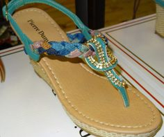 Turquoise/Multi Wedge with Crystals