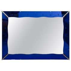 Art Deco Cobalt Blue Wall Mirror with Etched Border | From a unique collection of antique and modern wall mirrors at https://www.1stdibs.com/furniture/mirrors/wall-mirrors/