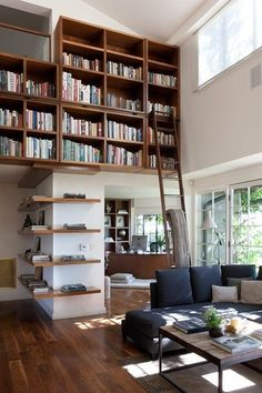 Loft with an bookshelf under the ceiling (attic) with ladder