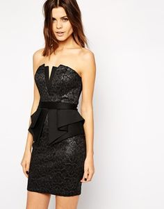 Lipsy Metallic Lace Bandeau Mini Dress with Peplum Waist