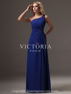 Royal Blue Chiffon A-Line Long With Straps One Shoulder Prom Dress