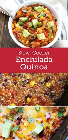 This healthy Slow Cooker Enchilada Quinoa Casserole only takes 10 minutes to prepare and then the slow cooker does the rest of the work. Serve with flour tortillas or tortilla chips!