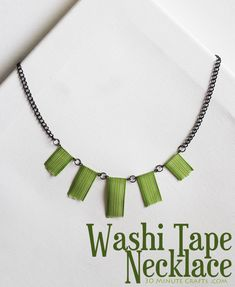Bring some spunk to your outfit with this natural Leafy Green Washi Tape Necklace. Made with stripes of green Washi tape, this DIY necklace has an earthy and bamboo-like look to it. There are not many DIY jewelry pieces like it. Washi Tape Storage, Washi Tape Crafts, Washi Tapes, Masking Tape, Duct Tape, Bead Crafts, Jewelry Crafts, Jewelry Ideas, Beaded Jewelry