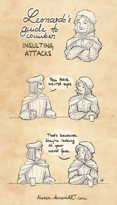 """Leo's Guide to Counter Insulting Attacks"" by Alassa on DeviantArt.com."
