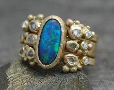 Ring Ring, Raw Diamond, Diamond Rings, Gold Deposit, Opal Jewelry, Jewellery, Black Opal, Opal Rings, Stacking Rings