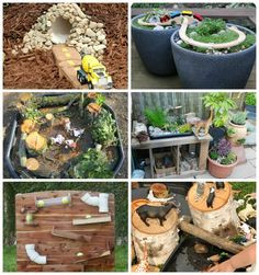 Inspiring Outdoor Play Spaces - The Imagination Tree Outdoor Play Spaces, Outdoor Areas, Natural Play Spaces, Dinosaur Garden, Outdoor Cooking Area, Imagination Tree, Sensory Garden, Small World Play, Outdoor Playground