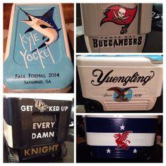 Painted cooler! Guy Harvey blue marlin, Tampa Bay Buccaneers, UCF Knights, Yuengling, Beta Theta Pi flag