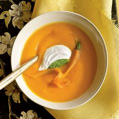 Carrot Soup with Yogurt Recipe by Cooking Light | Maypurr