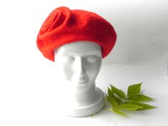 Felt hat beret merino wool red color warm woman felted accessory Ready to send  Felt hat from merino wool.  This hat is created from smoothest merino