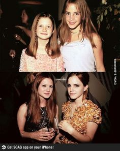 "Then and now: Bonnie Wright and Emma Watson - Funny ""then and now"" photos of Bonnie Wright and Emma Watson as kids from Harry Potter (Ginny Weasley and Hermione Granger) and a photo of the two beautif (Beauty People Actresses) Harry Potter World, Mundo Harry Potter, Harry Potter Love, Harry Potter Characters, Harry Potter Fandom, Harry Potter Ginny Weasley, Harry Potter Film Cast, Hermione Granger Funny, Hermione Granger Outfits"