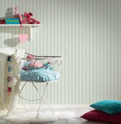 NEWROOM Kindertapete Vliestapete Hellblau Streifen  Kinder Weiß  Kinderzimmer Vl
