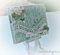 Shabby envelope card. i don't have this exact die set but something similar. Pearls along the edge?