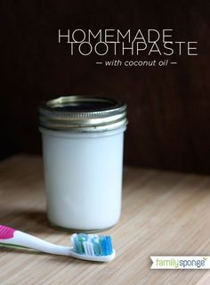 Homemade Toothpaste with Coconut Oil, Bakin Soda, Mint Oil and Sea Salt