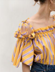 Yellow Stripe strappy shoulder tie top