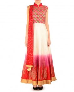 Radiant Orchid and Red Anarkali Suit with Pochampally Bodice - $273