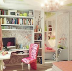 Neaten Your room with Angles Wall Shelves : Lovely Study Space Design With Wallpaper Walls And Luxury Chandelier And Elegant Chair And Inter...
