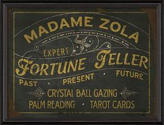 """Madame Zola Fortune Teller Sign 19"""""""" x 25"""""""" Wood Framed Print with Glass Front…"""