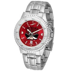 """Nevada Las Vegas Runnin Rebels NCAA Anochrome """"Competitor"""" Mens Watch (Steel Band) by SunTime. $93.99. Color Coordinated. Calendar Date Function. Rotating Bezel. Showcase the hottest design in watches today! The functional rotating bezel is color-coordinated to compliment your favorite team logo. The Competitor Steel utilizes an attractive and secure stainless steel band. The AnoChrome dial option increases the visual impact of any watch with a stunning radial r..."""