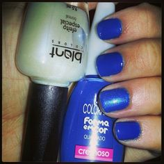 Nail Polish. Colors: quadrado azul (colorama) and the only child with one layer of boreal (blant colors) #esmaltedasemana #nailsfortheweek #brazil #braziliannailpolish