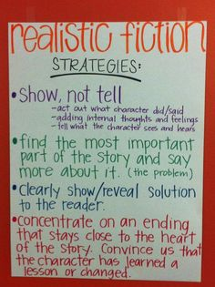 Realistic Fiction Anchor Charts