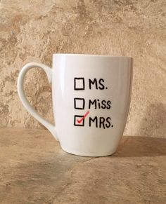Mrs Mugs, Wedding Mugs, Wedding Gift, Gift for Bride, Engagement Gift, Bridal Shower Gift by TheCozyPup on Etsy