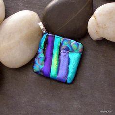 Purple dichroic glass pendant, fused, greens, handmade
