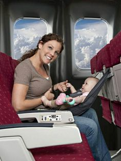 FlyeBaby is a hammock-type seat that can be used on an airplane during the cruise portion of the flight as a comfortable and convenient place to put your baby.