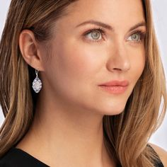 Moonstone and 3.20 ct. t.w. Tanzanite Drop Earrings in Sterling Silver | Ross-Simons Pink Topaz, White Topaz, White Gold, White Agate, Diamond Drop Earrings, Silver Hoop Earrings, Sterling Silver Filigree, Gold Filigree, Gold Leaf