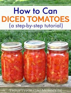 This easy step-by-step photo tutorial will have you saving money and canning you. - This easy step-by-step photo tutorial will have you saving money and canning your own diced tomato - Canning Tips, Home Canning, Tomato Canning Recipes, Garden Tomato Recipes, Pressure Canning Recipes, Easy Canning, Canning Salsa, Canning Food Preservation, Preserving Food