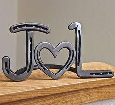 Horseshoe heart initials wedding decor or by BlacksmithCreations