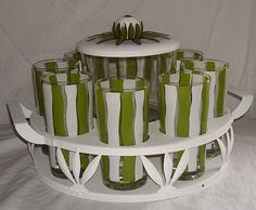 Vintage Green and White Stripe Glassware Party Set - For sale on Ruby Lane $50.00
