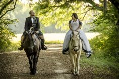 Scottish Wedding - Trash The Dress with Horses My amazing husband @Scott Doorley McKay in his clan McKay kilt on our Percheron mare, and myself on my American Warmblood gelding. Photo by Yellow Rose Photography taken in North Central Florida, April 2014 #rockthedress #trashthedress