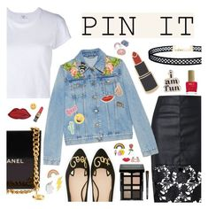 """""""Pins With Personality"""" by dora04 ❤ liked on Polyvore featuring Chanel, RE/DONE, Gucci, Georgia Perry, Red Camel, Decree, ban.do, LULUS, Kate Spade and ncLA"""