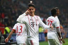 James Rodriguez of Bayern Muenchen celebrates as he scores their third goal from a free kick during the Bundesliga match between Bayer 04 Leverkusen and FC Bayern Muenchen at BayArena on January 12, 2018 in Leverkusen, Germany.
