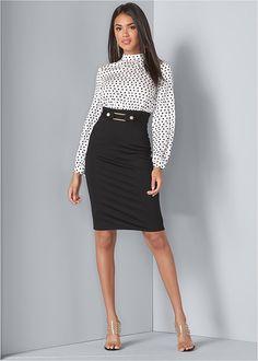 Polka Dot Twofer Dress in White & Black Venus Clothing, Formal Dress Shops, Cheap Maxi Dresses, Professional Dresses, Body Con Skirt, Floral Maxi Dress, High Waisted Skirt, Fashion Dresses, White Dress