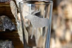 Etched Moose on Pint Glass. $8.00, via Etsy.